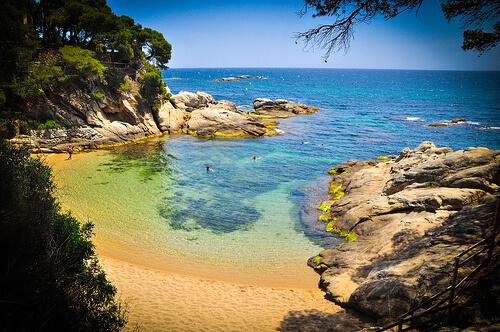 La playa Sa Cova se encuentra en el municipio de Castell-Platja d'Aro, perteneciente a la provincia de Girona y a la comunidad autónoma de Cataluña